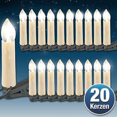 Lunartec 2 LED-Weihnachtsbaum-Lichterketten mit je 20 LED-Kerzen, IP20