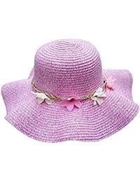 Leisial Lindo Sombrero para el Sol del Verano Gorra de Playa Paja con Flora  Grande ala bed8d42741c
