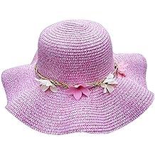 Leisial Lindo Sombrero para el Sol del Verano Gorra de Playa Paja con Flora  Grande ala cd66fb8e867