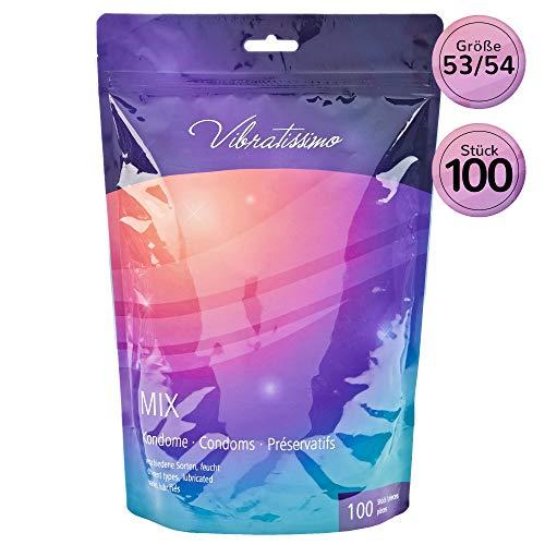 Paquet de 100 préservatifs VIBRATISSIMO «Mix» extra lubrifiés pour des sensations pures et naturelles