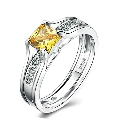 Anazoz s925 argento 8mm giallo zirconia cubica anello di fidanzamento and band misura 12