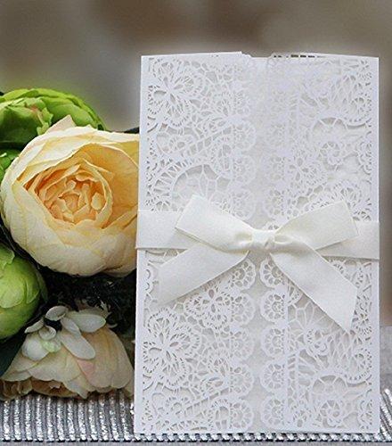 DIKETE® 20 Stück 4 in 1 EinladungsKarten Elegante Blume Spitze [ Hohle Hülse + leere Karte + Umschlag + Bowknot] für Hochzeit Geburtstag Babyparty Kommunion Party Gast geschenk verschiedenen Gelegenheiten (set 2)