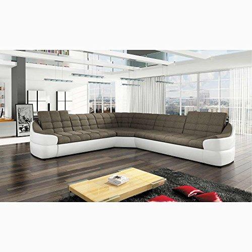 JUSTyou Infinity L Comfort Ecksofa Polsterecke Eckcouch Kunstleder Strukturstoff (BxLxH): 310x310x76/86 cm Weiß Braun
