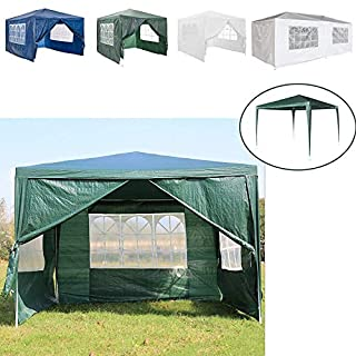 AutoBaBa 3x3m Waterproof Garden Gazebo Marquee Canopy Tent Steel Tube Strong Marquee, PE, Green