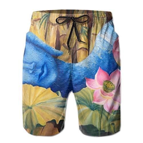 magic ship Men's Asian Lotus Zen Art Swim Trunks Beach Board Shorts