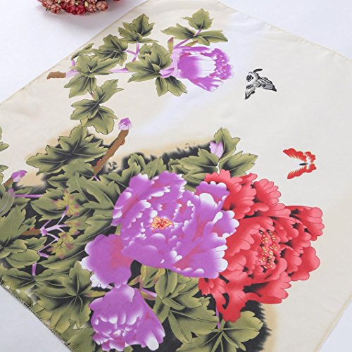 Transer ® Femelle Écharpes,Femmes Foulard Carré Tête Wrap double utilisation Kerchief cou Shawl / Echarpe en mousseline de soie avec imprimé fleurs Beige