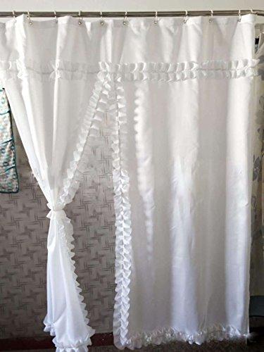 Badass Sharks Wasserdicht Dekorationswand Badezimmer Stoff weiß Spitze Vorhang für die Dusche Badewanne Vorhang mit Flaschenzug Haken (182,9x 182,9cm) (Dusche Vorhang Haken Weiß)