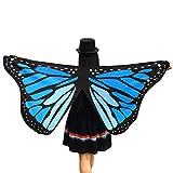 TWIFER Weichen Stoff Schmetterlingsflügel Fee Damen Nymph Pixie Kostüm Zubehör Party Cosplay (145 x 65CM, A-Blau)