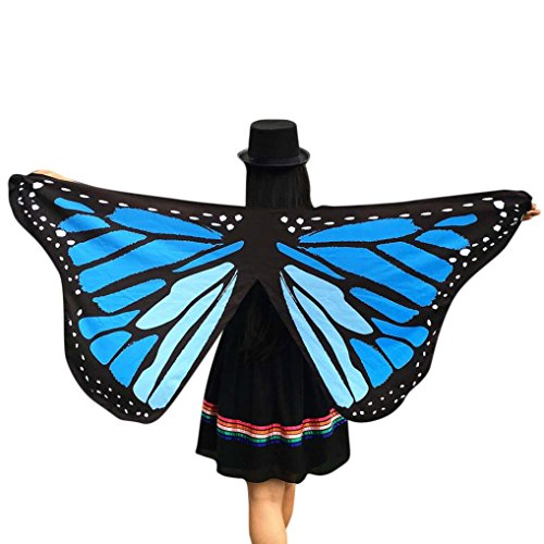 Der Leuchtende Bär Kostüm Mann - TWIFER Weichen Stoff Schmetterlingsflügel Fee Damen Nymph Pixie Kostüm Zubehör Party Cosplay (145 x 65CM, A-Blau)