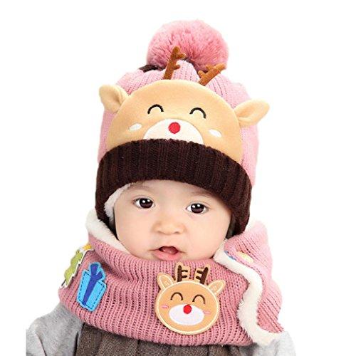 Babybekleidung Hüte & Mützen Longra Baby Jungen-Mädchen gestrickt schönen weichen Hut für Kinder Hüte Schal Mütze Set (1-4 Jahre) (Kinder Pilot Für Kleid)