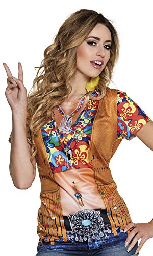 erdbeer-clown - Damen Motto-Party Karneval Kostüm Flower Power Hippie Fotodruck Shirt, M, (Mädchen Flower Kostüme Power)