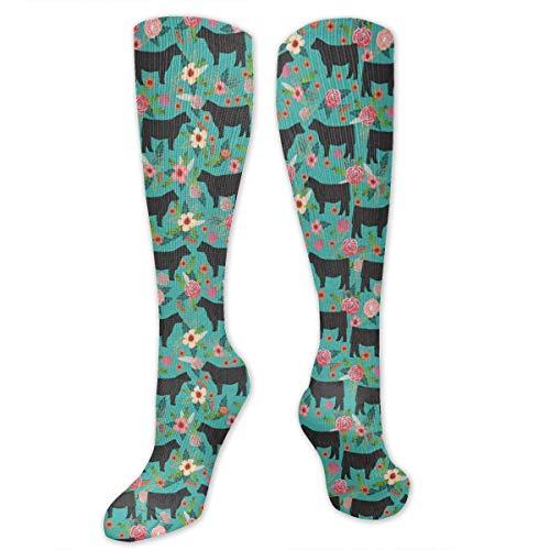 Unisex Kühe Bauernhof Scheune Stoff Blumenmuster Kniehohe Kompression Oberschenkel hohe Socken Fußball Rohr Socke (Socken Kompression Uniform)