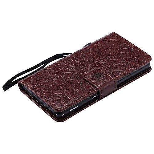 Für Sony M2 Fall, Prägen Sonnenblume Magnetic Pattern Premium Soft PU Leder Brieftasche Stand Case Cover mit Lanyard & Halter & Card Slots ( Color : Brown ) Brown