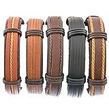 Herren Armband Set Leder Armbänder Armreifen Geflochten Armketten Größe Verstellbar 5 Stücke Schwarz Braun
