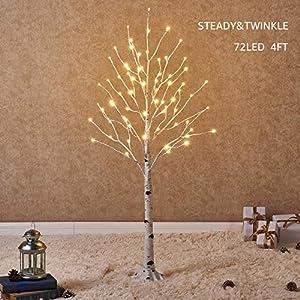 Hairui Vorbeleuchtete Birke 120CM 72L für die Heimdekoration Weißer Weihnachtsbaum mit LED-Leuchten Warmweiß Beleuchteter Kunstbaum mit Teilweise Funkelnder Funktion Ausgang 24V Sicherheitsspannung