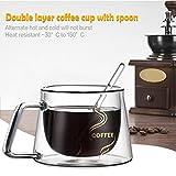 Yunt Doppelwandiges Thermoglas mit Griff & Löffel, Transparent Glastassen Trinkgläser für Espresso Latte Macchiato Kaffee Tee Milch, 2 Stück Set