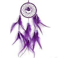 Morado Atrapasueños con plumas colgante de pared decoración habitación decoración adorno