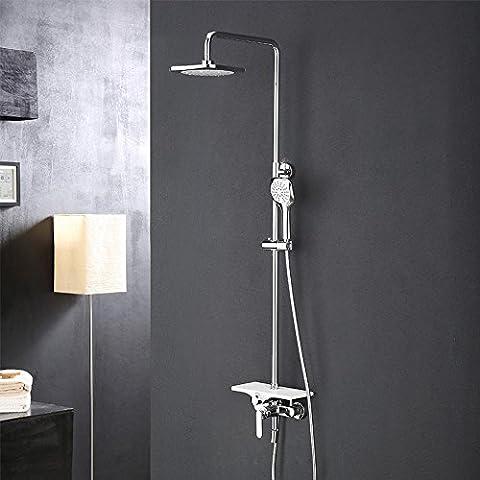 KHSKX Conjunto de ducha contemporánea moderna cobre con reproductor de ducha ajustable lluvia de ducha de ducha multifunción con estantes