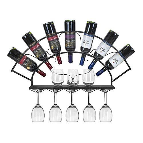Le support à vin Iron Art contient un présentoir à vin de 7 bouteilles avec support à verres à suspendre de style européen pour une cuisine, une salle à manger, un bar ou une cave à vin,Black