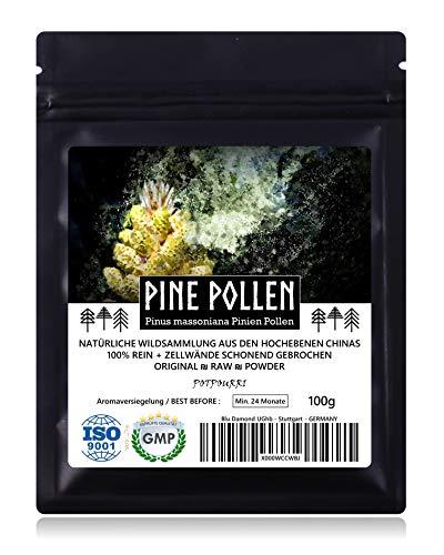 PINE POLLEN (Pinien Pollen) - Natürliche Wildsammlung | TOP-Qualität vom NR.1-Original | 100{1781895f15602d63691c9578a9f2a79b0f9520d3b8e43d69845fe2e67b1c8173} rein + laborgeprüft auf Schadstoffe | GMP + ISO-9001 zertifiziert | frisch geerntet | roh vegan | 100g