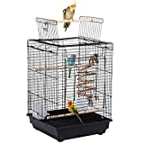 Yaheetech Metal Open Top Bird Cage For Finch Canary Budgie Cockatiel Etc. (Black) 40 x 40 x 58 cm (LxWxH)
