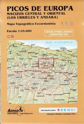 Picos de Europa. Macizos Central y Oriental (Los Urrieles y Andara): Mapa topográfico excursionista. Escala 1:25000