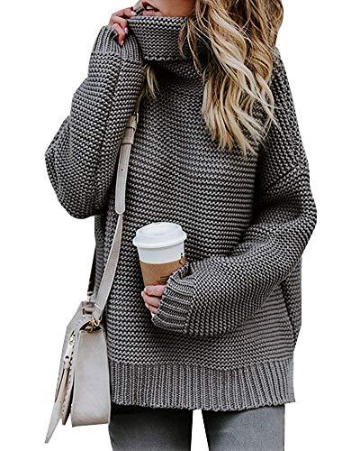 FeiliandaJJ Damen Pullover Langarm Casual Rollkragen Pullover Kleid Jumper Einfarbig Elegant Pulli Sweaters Frühling Winter (M(EU 36), Weiß )