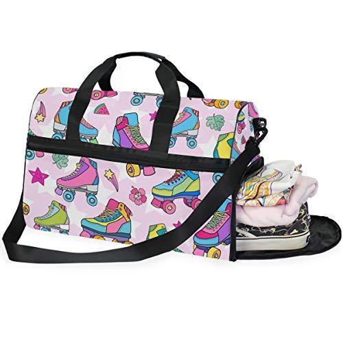 QMIN Reisetasche, bunt, Rollschuhe, Muster, große Handgepäcktasche, leicht, Reißverschluss mit Gurt für Damen, Herren, Mädchen, Jungen