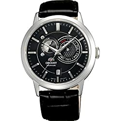 Orient Men's 42mm Black Leather Band Steel Case Sapphire Crystal Automatic Analog Watch FET0P003B0