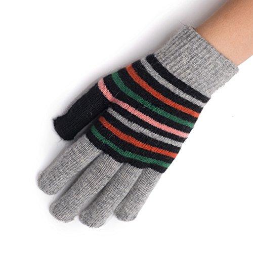 Guanti termici di donna/ guanti di maglia di lana/Guanti a strisce-B Unica