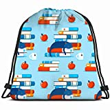 JIMSTRES Books Home Literature Covert Piles Apple Education Drawstring Backpack Gym Sack Lightweight Bag Water Resistant Gym...