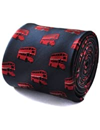 Frederick Thomas navy tie with london red bus pattern and signature floral pattern design to rear.
