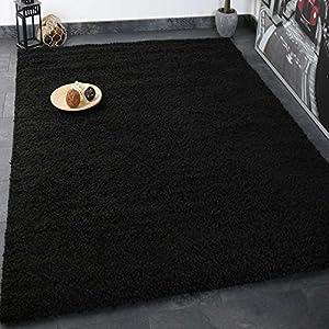 VIMODA Prime Shaggy Teppich Schwarz Hochflor Langflor Teppiche Modern für Wohnzimmer Schlafzimmer, Maße:Ø 160 cm Rund