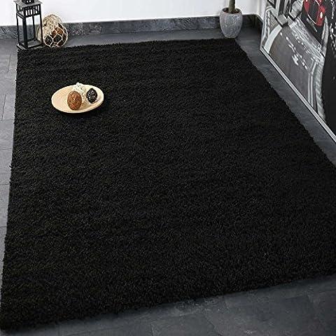 Prime Shaggy Teppich Schwarz Hochflor Langflor Teppiche Modern für Wohnzimmer