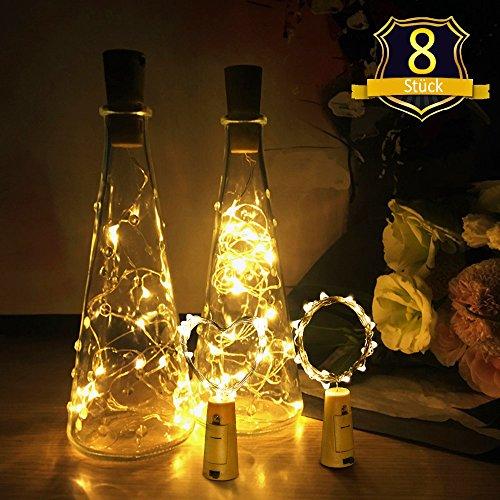 OUP Led Lichterkette Kork Flaschen licht LED Lichter, für Party, Garten,Hochzeit, Beleuchtung Deko,2M&20 LED - Warm weiß [8 Stück] ()
