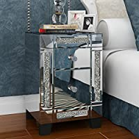 MissSnower Mirrored Crystal Glass Bedside Table Bedroom Cabinet Nightstand with 2 Drawers, Style F