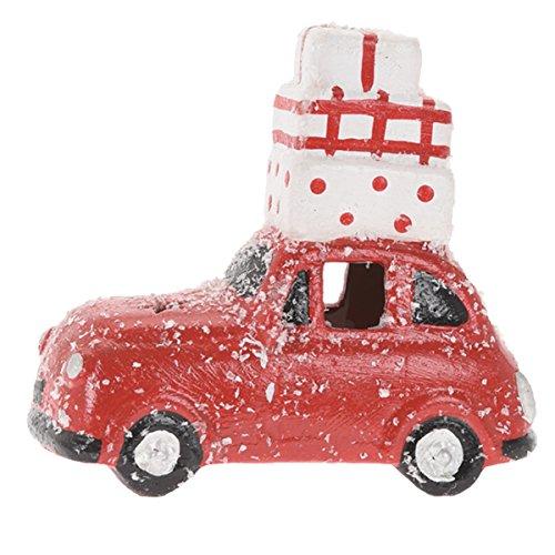 Auto 14cm Schnee LED Weihnachsbaum Koffer Deko Modellauto Beleuchtung Winter, Modell / Charakter:Rot + Koffer
