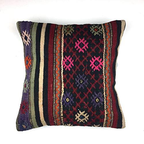 Türkischen Kelim Kissen (KilimShop Kilim Kissenbezug, handgefertigt, Kelim Kissen, 40 cm, Türkisch, Persisch, marokkanischer Stil)