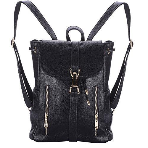 Xpassion Rucksack Damen Leder Vintage Schultasche Daypacks Für Reise Sport (Schwarz 2) (Leder Verfolgung)