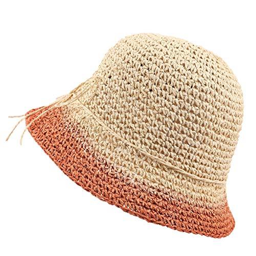 Dasongff Damen Frauen Faltbar Elegant Sonnenhut Strohhut Sandstrand Sonnenhüte Sommerhut Hut aus Stroh für den Sommer am Strand oder im Urlaub