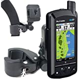 ChargrCity Exclusive GF1 Temporary Push Cart / Golf Carry Bag Mount for SkyCaddie SGX SG5 SG4 SG3 SG3.5 SG2.5 Golf Buddy World Pro Tour Platinum GPS with FREE Belt Clip **Fit all Golf GPS with Belt Clip** by ChargerCity