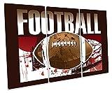 Canvas Geeks Leinwandbild, Motiv American Football Sport Treble, 150cm Wide x 100cm high