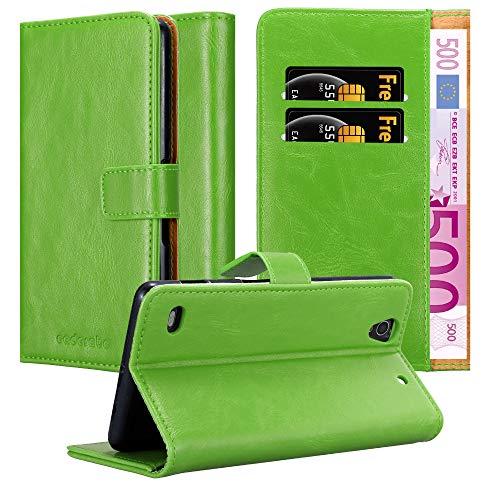 Cadorabo Hülle für Sony Xperia C4 - Hülle in Gras GRÜN - Handyhülle im Luxury Design mit Kartenfach & Standfunktion - Case Cover Schutzhülle Etui Tasche Book