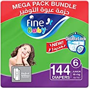 Fine Baby Double Lock, Size 6, Junior, 16+ kg, 144 Diapers (New packaging: 4x36 )