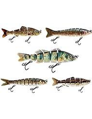Fishlike - Juego de señuelos de pesca de cebo (5 unidades, señuelo Jerkbait, ideal para depredadores de lucioperca, pez artificial, bacalao, siluro, lucio)