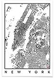 """JUNIQE® Poster 20x30cm Schwarz & Weiß Stadtpläne - Design """"New York Map Schwarzplan"""" (Format: Hoch) - Bilder, Kunstdrucke & Prints von unabhängigen Künstlern - New York, Manhattan, NYC, Big Apple Kunst - entworfen von Hubert Roguski"""