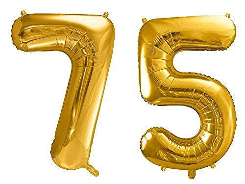 SiDeSo® Folienballon XXL GOLD Heliumgeeignet Party Geburtstag Jahrestag Hochzeitstag Jubiläum Zahlenluftballon Luftballon Zahl (Zahl 75) (Ballons Geburtstag 75)