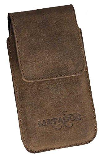 MATADOR Echtleder Slim Design Tasche für Motorola Moto X Force Handytasche Gürteltasche Vertikaltasche mit Gürtelclip/Gürtelschlaufe in (Antik Braun Tabacco)