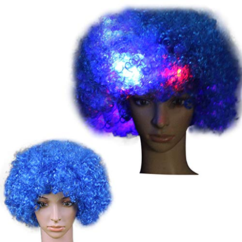 Winkey Perücken Damen, Party Disco LED Flash Clown Haar Fußball Fan-Erwachsener Afro Maskerade Haar Perücke