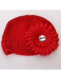 Generic Cotton Baby Girl's Floral Crochet Beanie Cap (Red)-Pack of 2